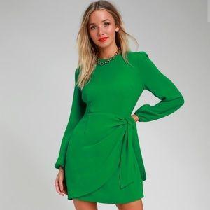 Lulus Green Long Sleeve Tie-Front Dress - Size M